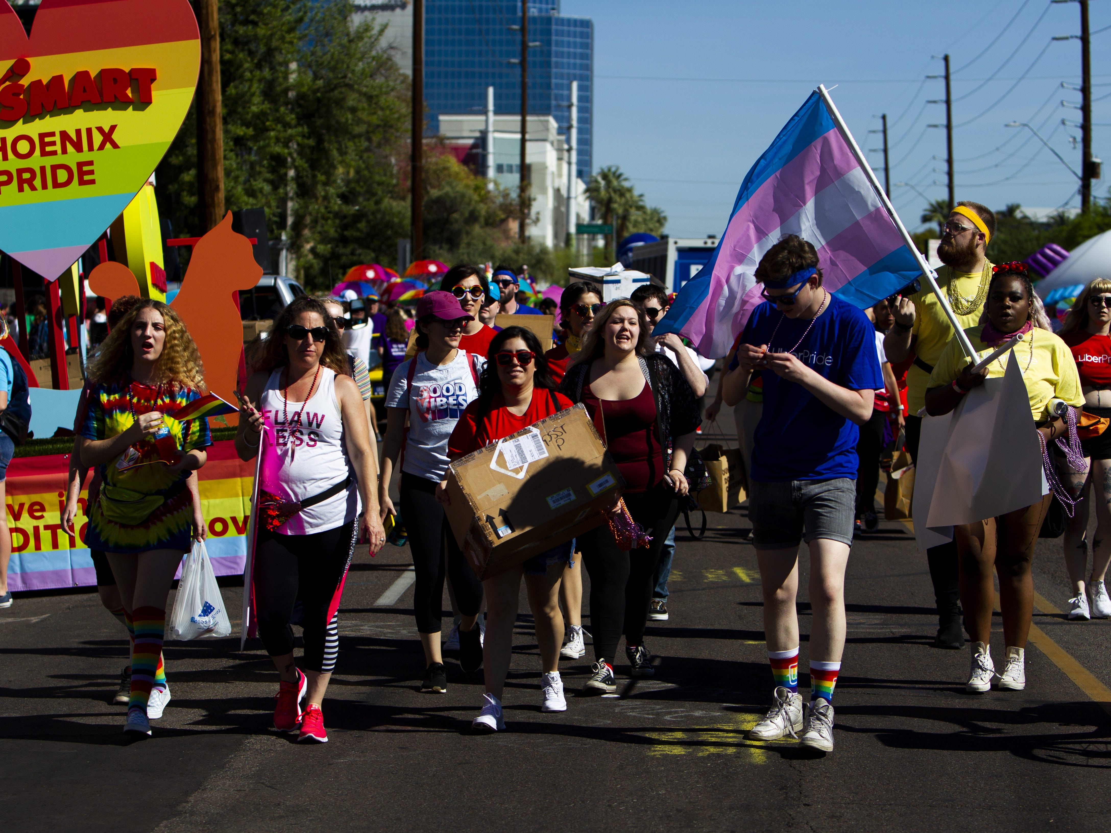 PetSmart marches in the Phoenix Pride Parade on April 7, 2019.