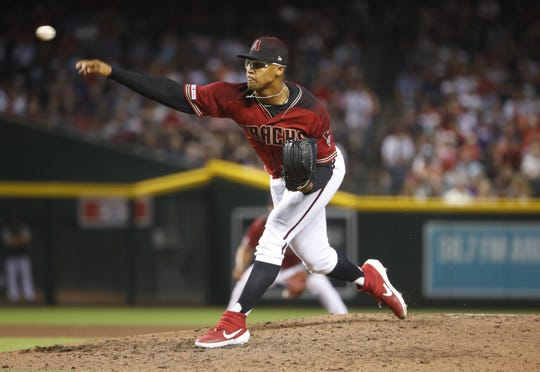 Diamondbacks' Jon Duplantier (57) pitches against the Red Sox during the ninth inning at Chase Field in Phoenix, Ariz. on April 7, 2019.