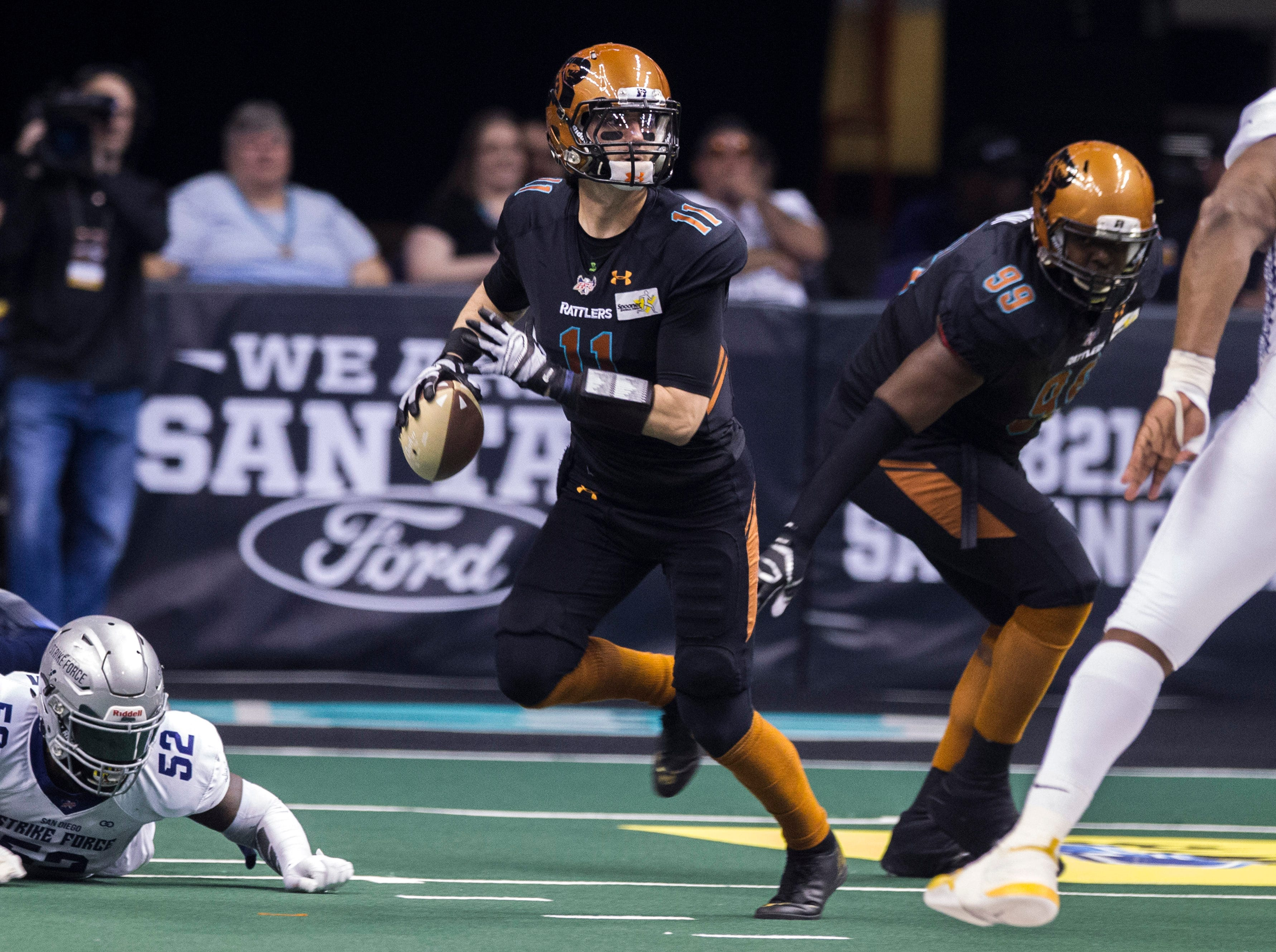 Arizona Rattlers' quarterback Jeff Ziembe looks down field during the first half of their game against the San Diego Strike Force at Talking Stick Resort Arena in Phoenix Friday, April. 6, 2019.