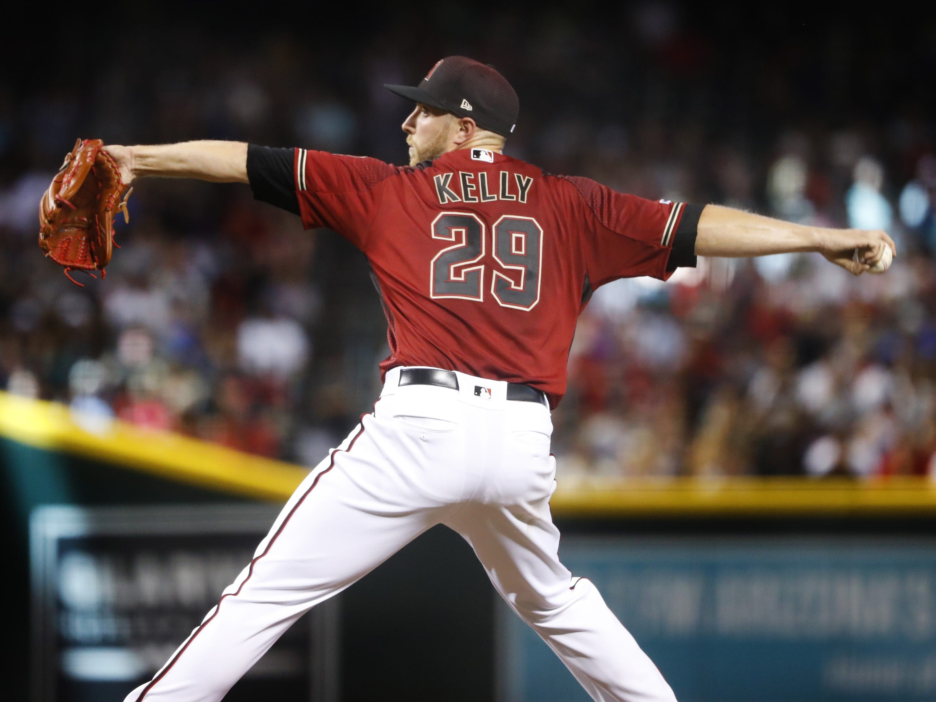 Diamondbacks' Merrill Kelly (29) pitches against the Red Sox during the fifth inning at Chase Field in Phoenix, Ariz. on April 7, 2019.