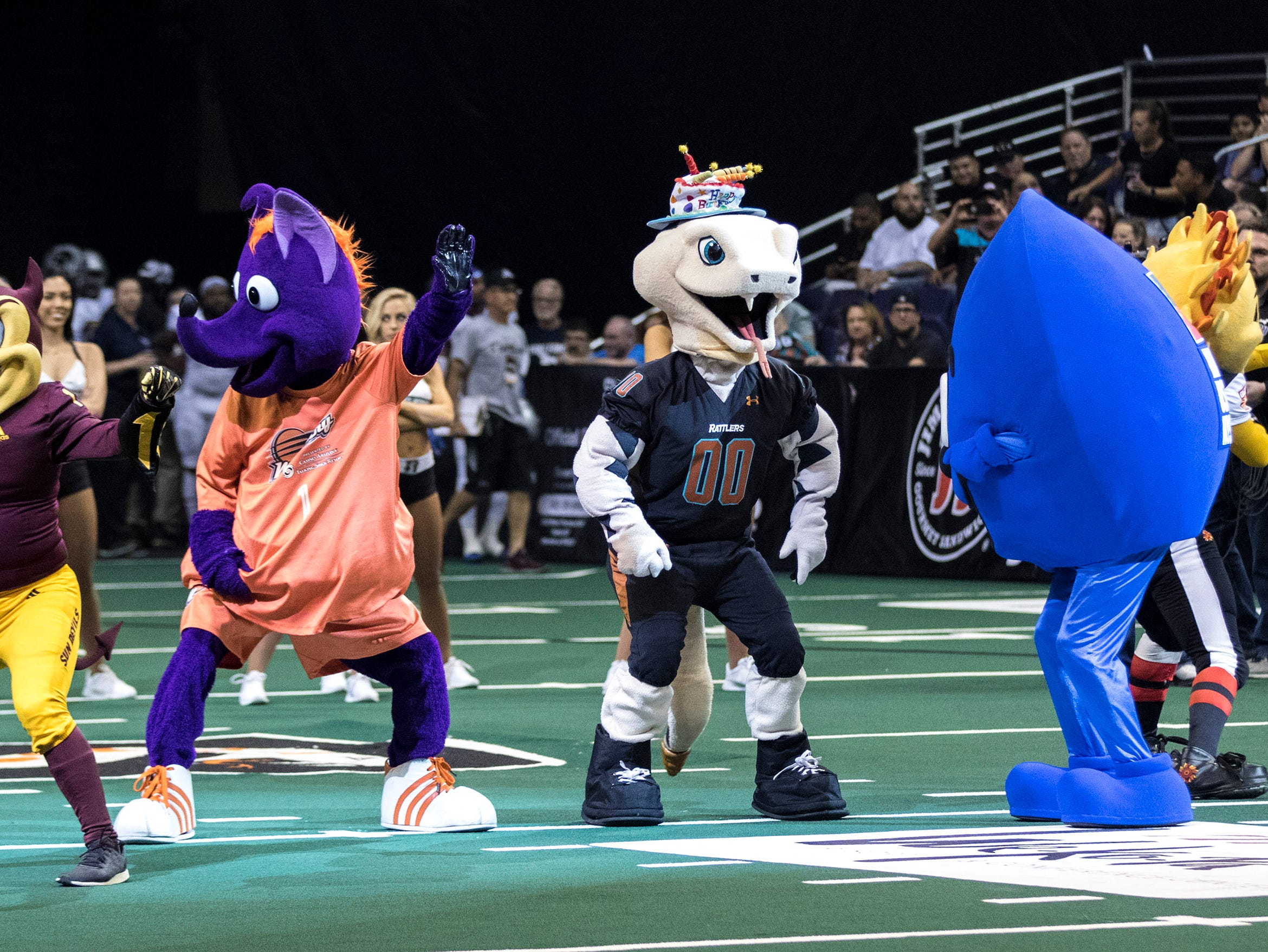 Mascots from around Arizona were on hand to celebrate the Rattlers' mascot Venom birthday during their game against San Diego Strike Force at Talking Stick Resort Arena in Phoenix Friday, April. 6, 2019.