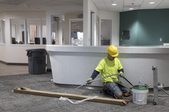 Construction continues on the Behavioral Health level of the Maricopa Integrated Health System Maryvale campus on April 1, 2019.