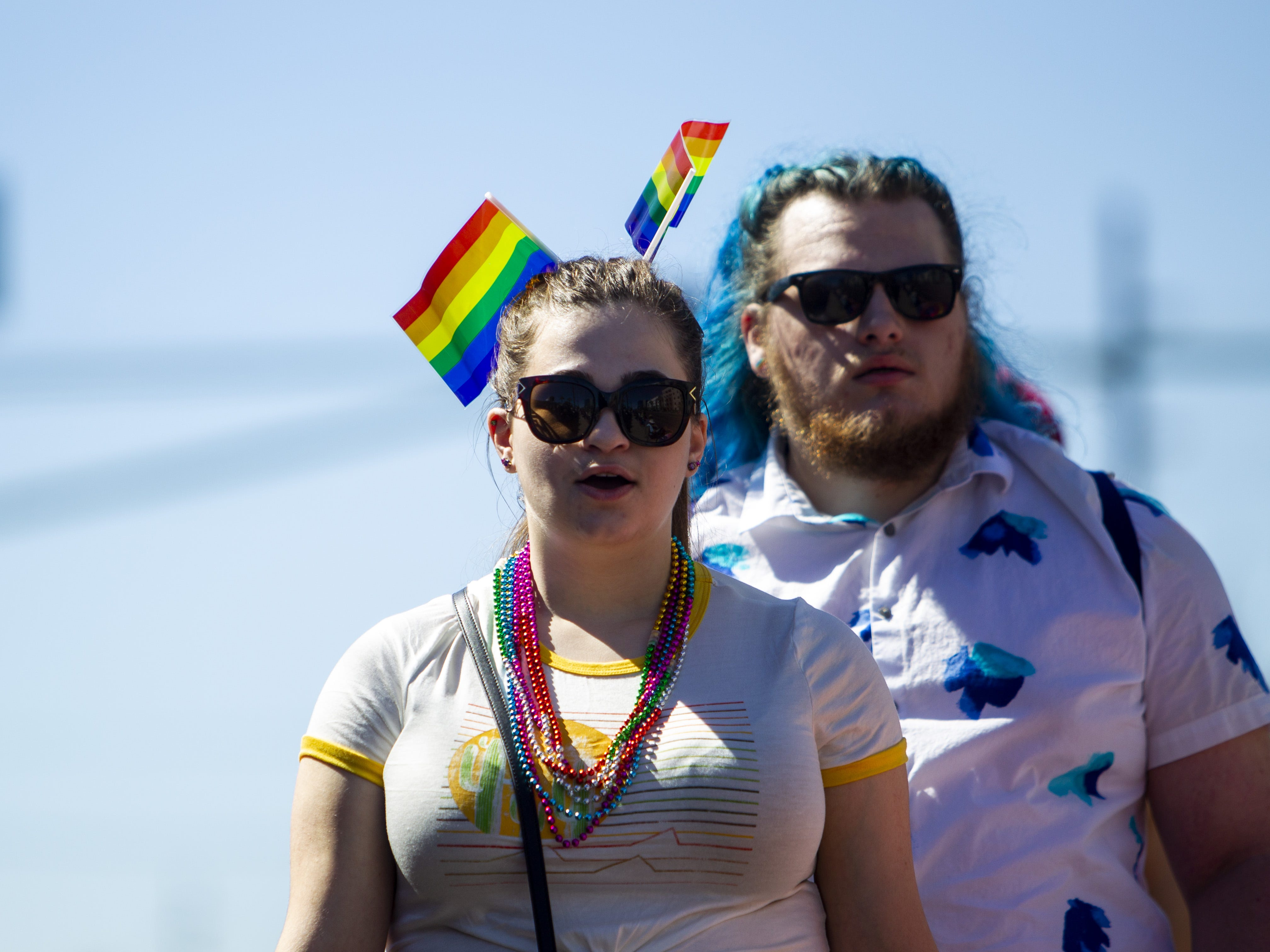 Many people wore flags in their hair for the Phoenix Pride Parade on April 7, 2019.