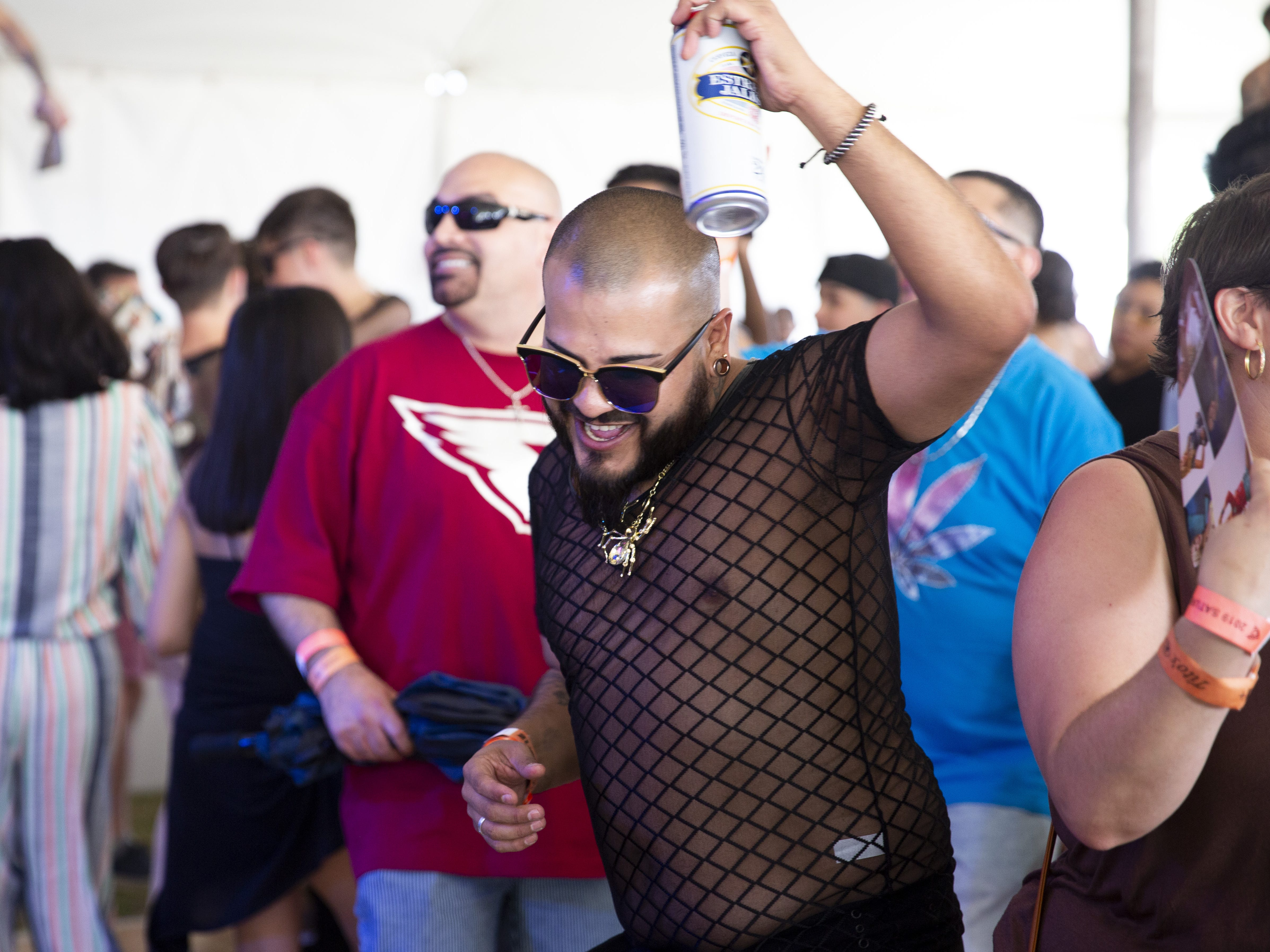 The new Latin stage was popular a popular dance floor during Phoenix Pride at Steele Indian School Park on Saturday, April 6, 2019.