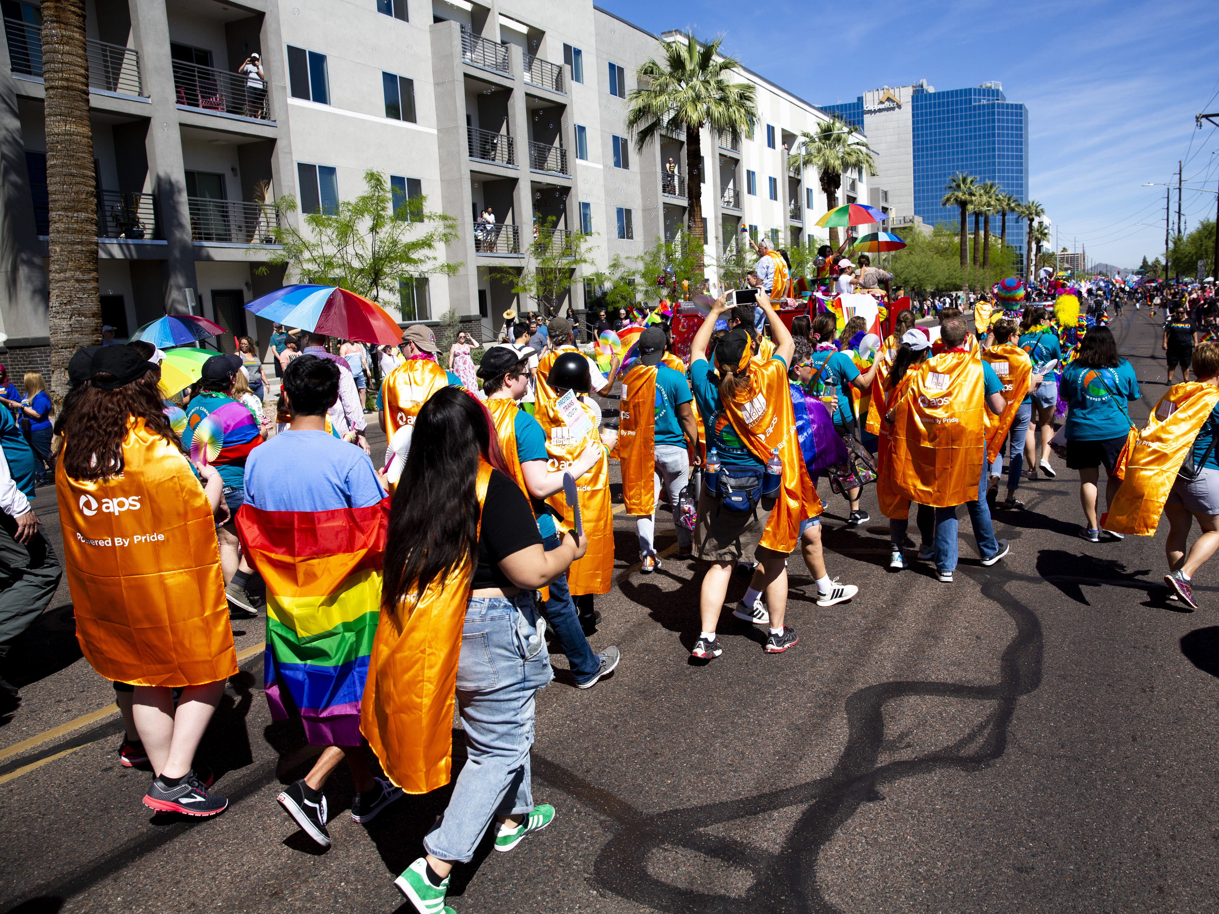 The APS group marches in the Phoenix Pride Parade on April 7, 2019.