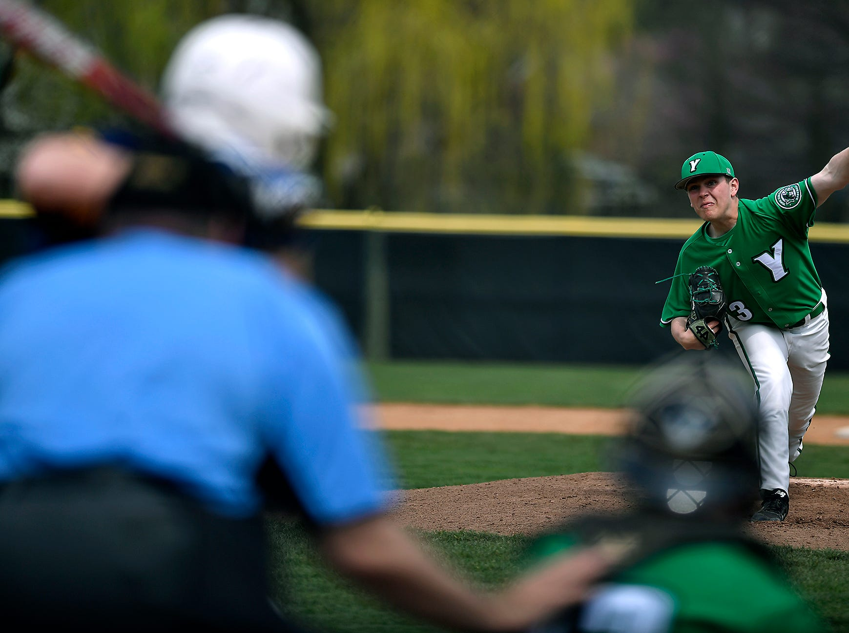 York College lefty pitcher Brandon Haggerty delivers against St. Mary's, Sunday, April 7, 2019.John A. Pavoncello photo