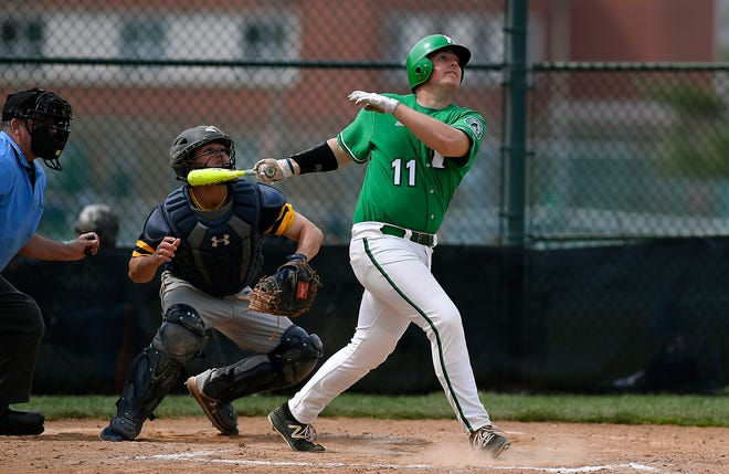 Jack Barry of York College watches the ball clears the right field fence, hitting a three-run homerun against St. Mary's in the fourth inning, Sunday, April 7, 2019. John A. Pavoncello photo