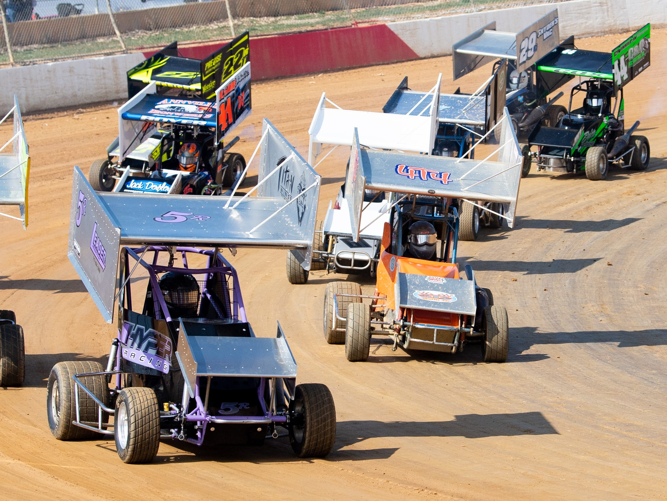 Racers in the 270 Micro Sprints look to pull ahead during the Trail-Way Speedway season opener, April 6, 2019.