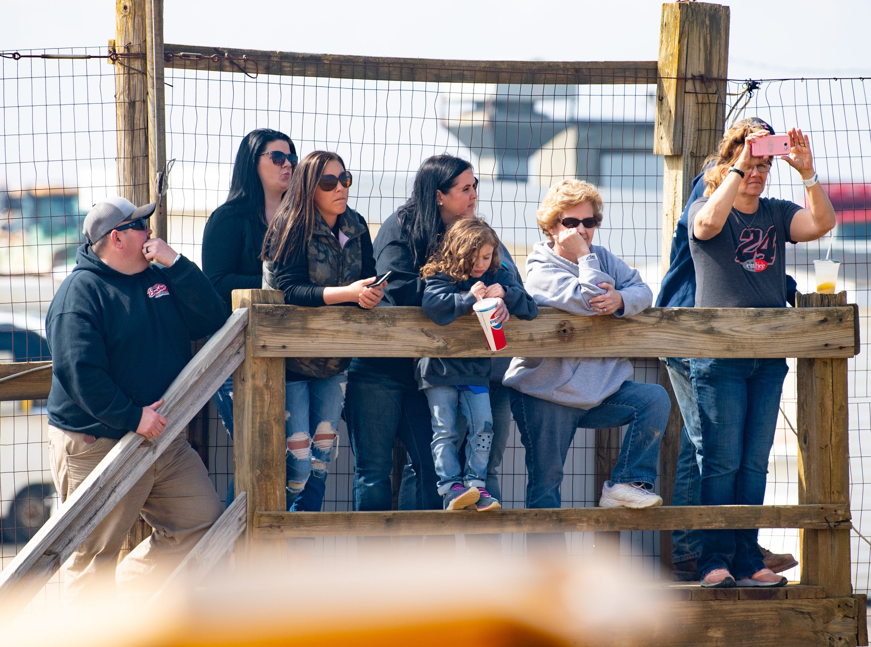 Fans watch the 600 Micro Sprints during the Trail-Way Speedway season opener, April 6, 2019.