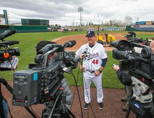 Manager Chris Cron talks with the local media during the Reno Aces 2019 Media Day at Greater Nevada Field in downtown Reno, Nevada on Monday, April 1, 2019.