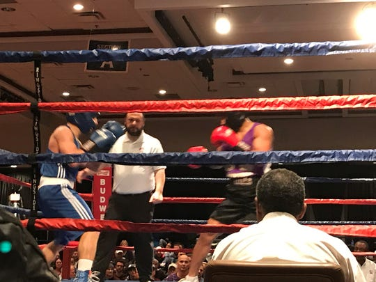 Nevada's Davis Ault boxes in the semifinals on Friday at the Silver Legacy in Reno.