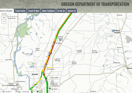Trip Check map of backed up traffic on I-5 at 5:45 p.m.