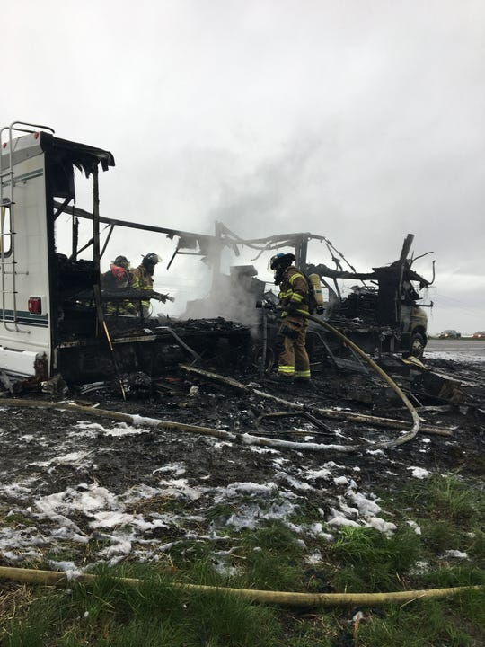 The motorhome that caught fire on northbound I-5 April 6, 2019, was a total loss. The occupants were able to safety exit and no injuries were reported