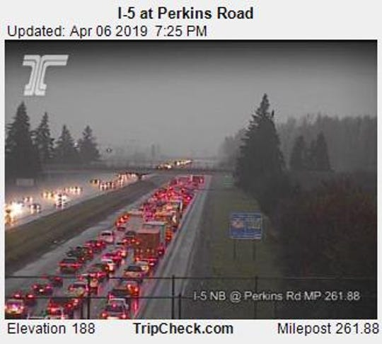 Northbound I-5 traffic north of Keizer on Saturday evening.