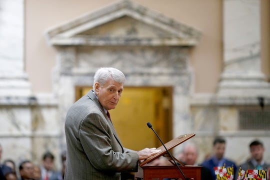 In a  Jan. 9 file photo, Maryland House Speaker Michael Busch speaks in the House of Delegates chamber in Annapolis, the first day of the state's 2019 legislative session. Busch died Sunday, April 7, surrounded by loved ones, according to Alexandra Hughes, the speaker's chief of staff. He was 72.