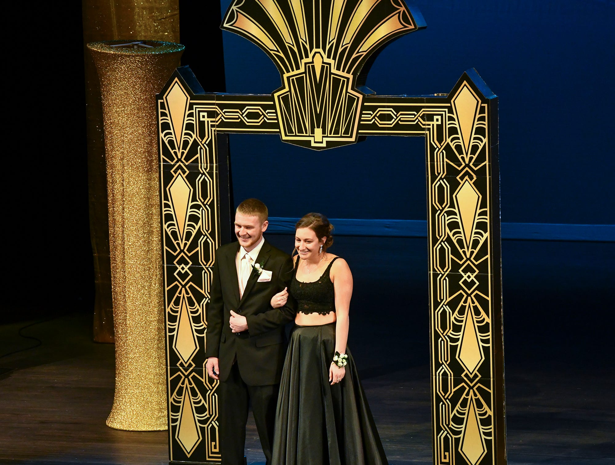 Kallie Linn and Brady Roering smile during prom grand march Saturday, April 6, at Albany High School.