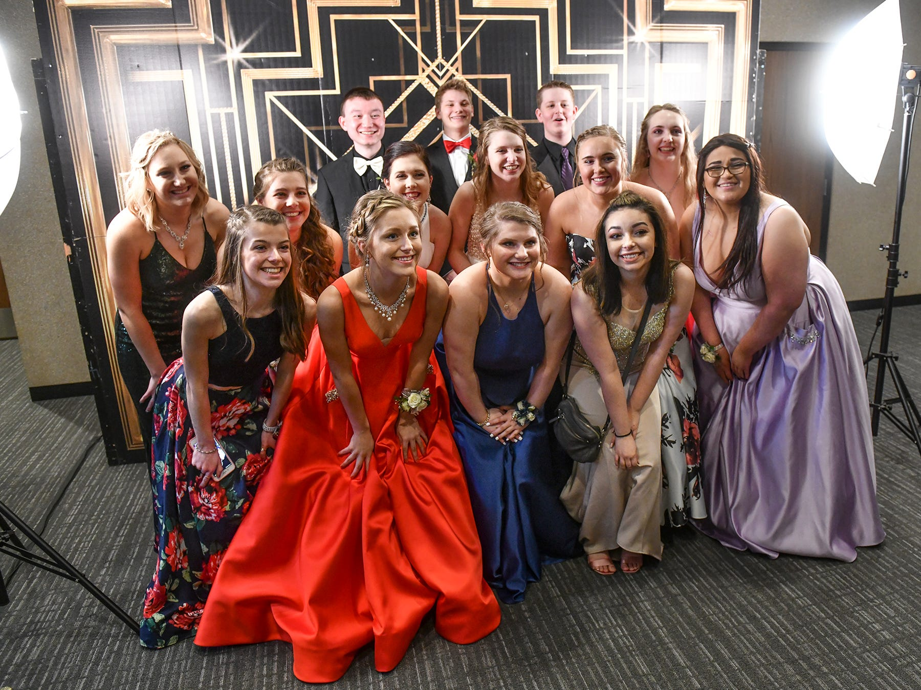 Friends pose for a group photo during prom Saturday, April 6, at Albany High School.