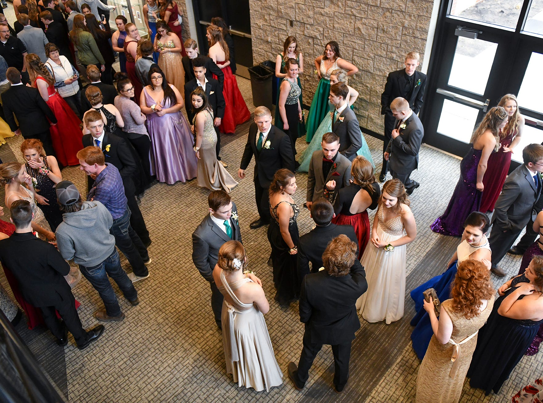 People gather before the start of prom grand march Saturday, April 6, at Albany High School.