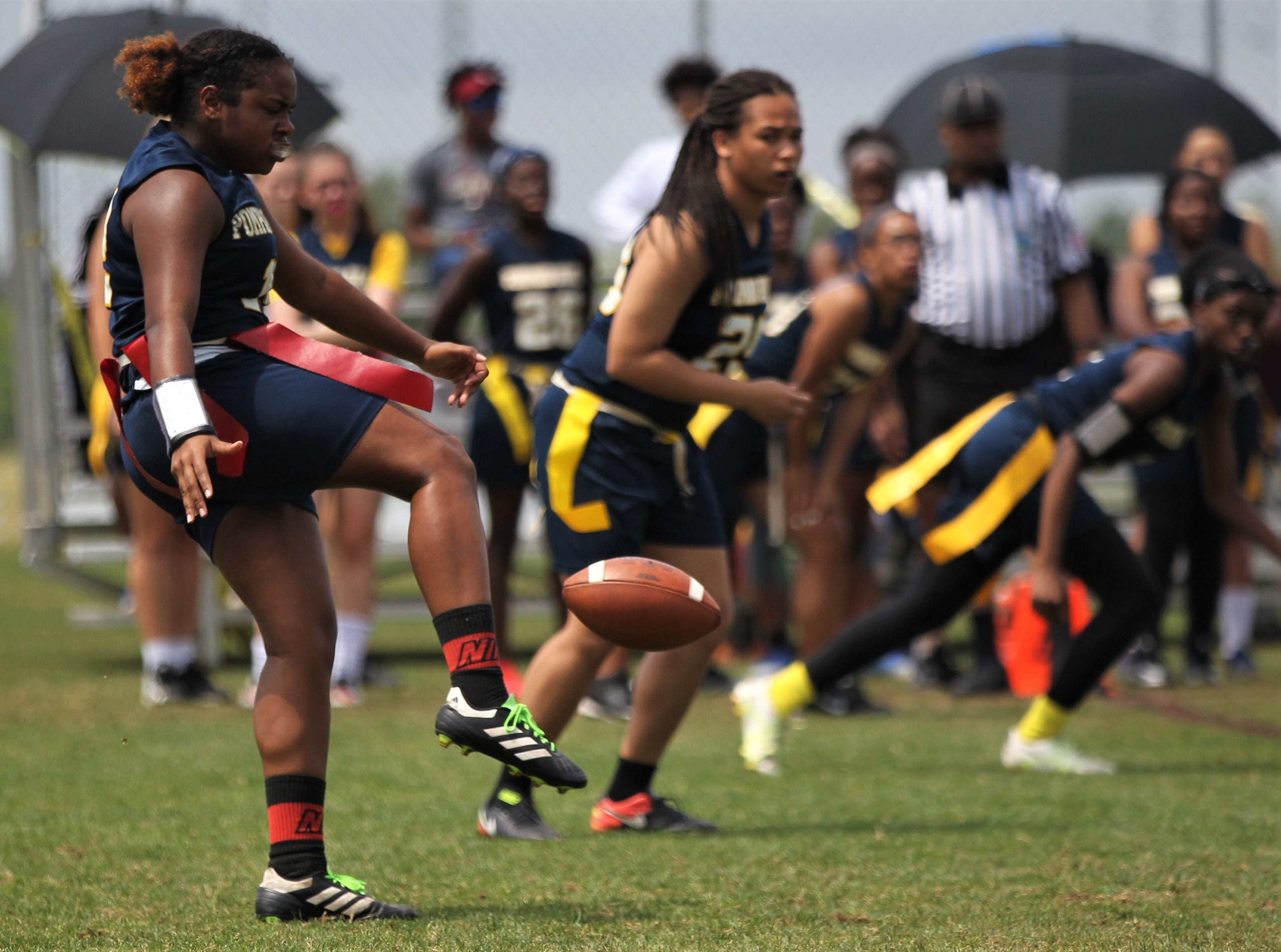 Pompano Beach plays in the 2019 Capital City Classic flag football tournament at the FSU Rec SportsPlex on April 6, 2019.