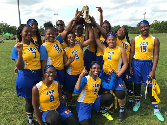 Rickards' flag football team went 3-0 and won the Silver bracket championship at the 2019 Capital City Classic flag football tournament at the FSU Rec SportsPlex on April 6, 2019.
