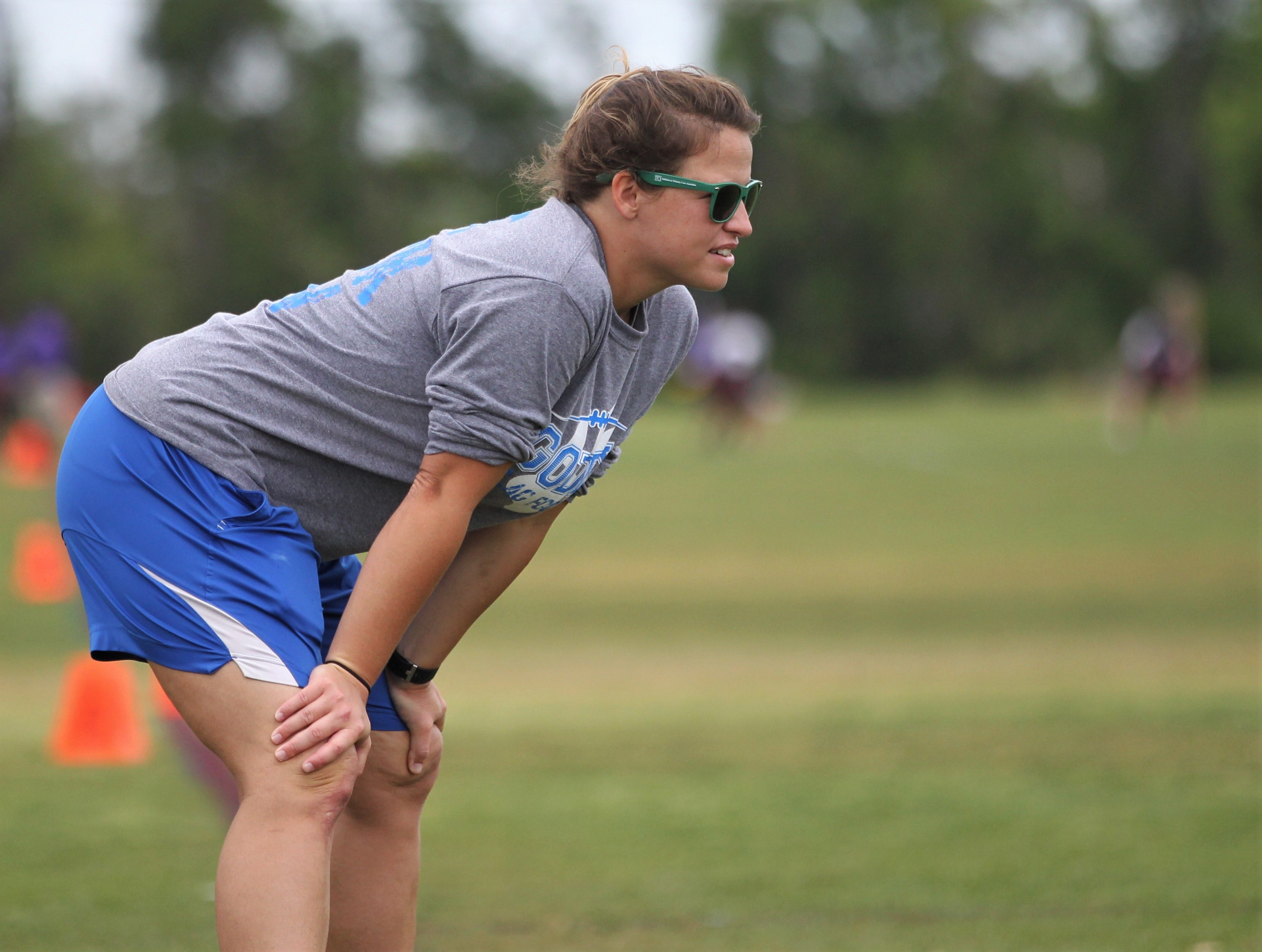 Godby head coach Chelsea Parmer watches her team play in the 2019 Capital City Classic flag football tournament at the FSU Rec SportsPlex on April 6, 2019.