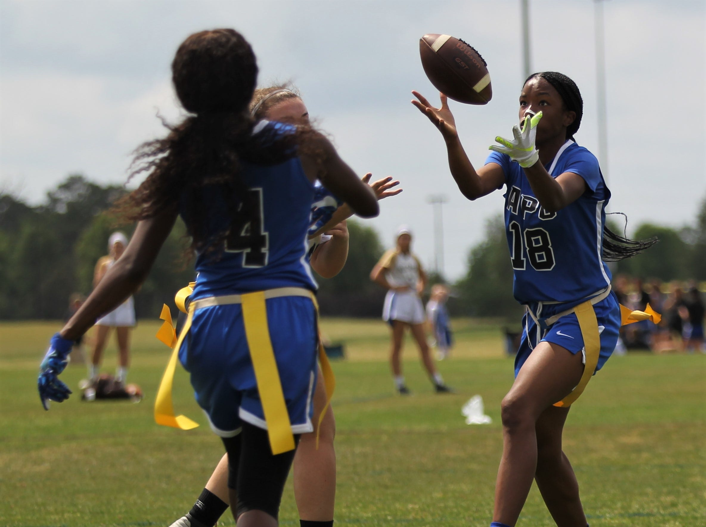 Godby's Giselle Jones record an interception in the 2019 Capital City Classic flag football tournament at the FSU Rec SportsPlex on April 6, 2019.