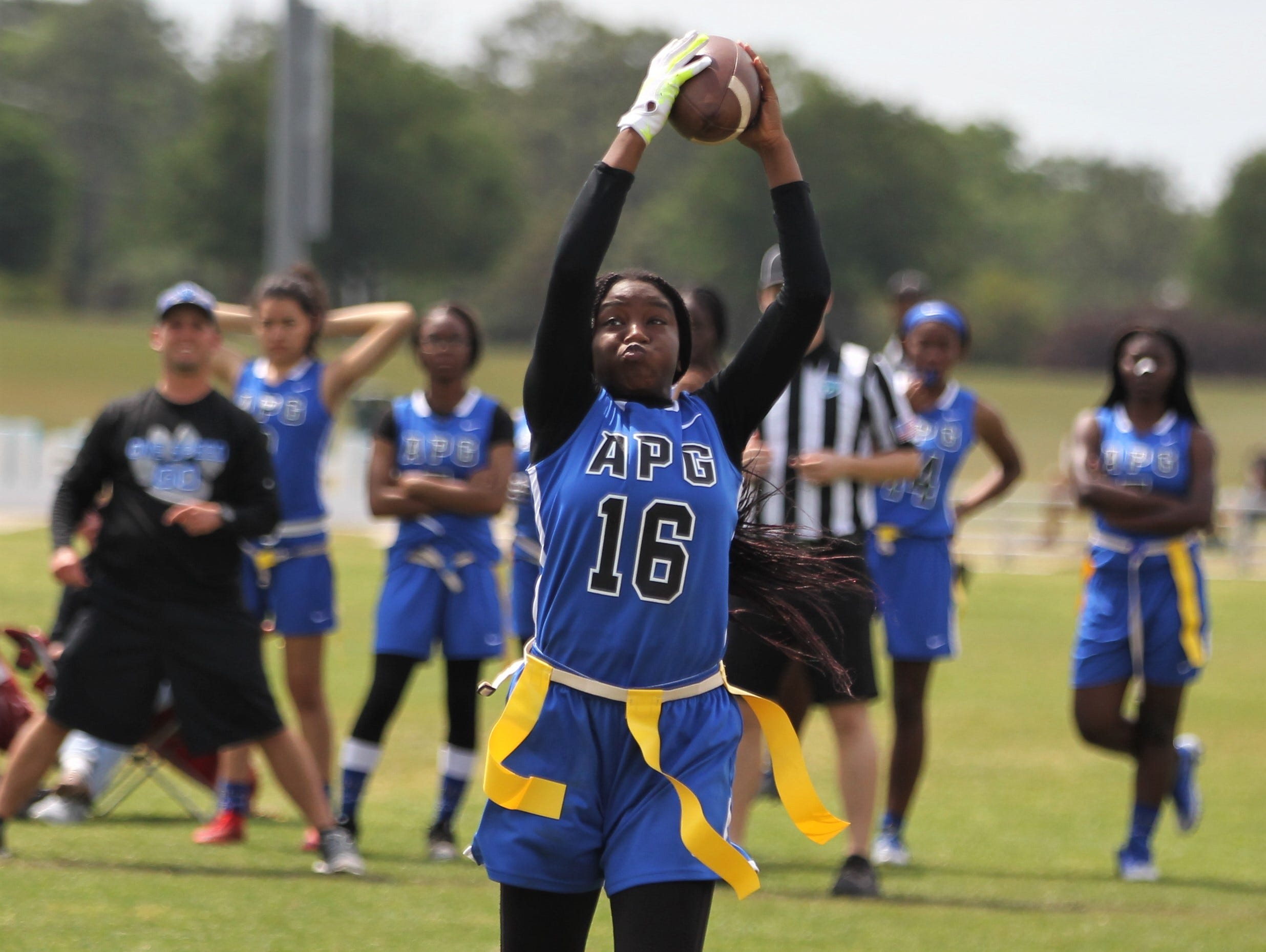 Godby's Essence Nobles makes a catch during the 2019 Capital City Classic flag football tournament at the FSU Rec SportsPlex on April 6, 2019.