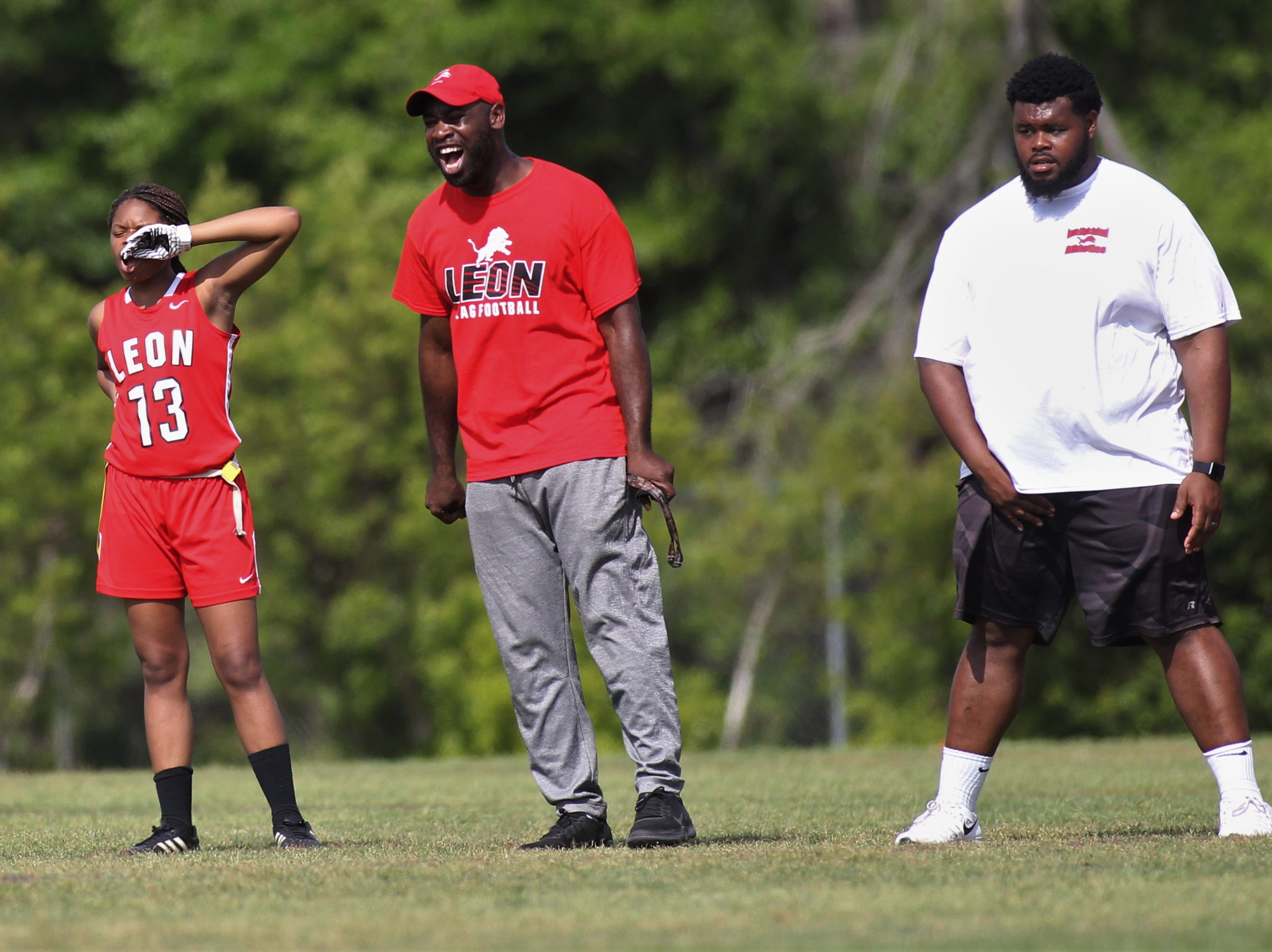 Leon head coach James Green screams after a big play during the 2019 Capital City Classic flag football tournament at the FSU Rec SportsPlex on April 6, 2019.