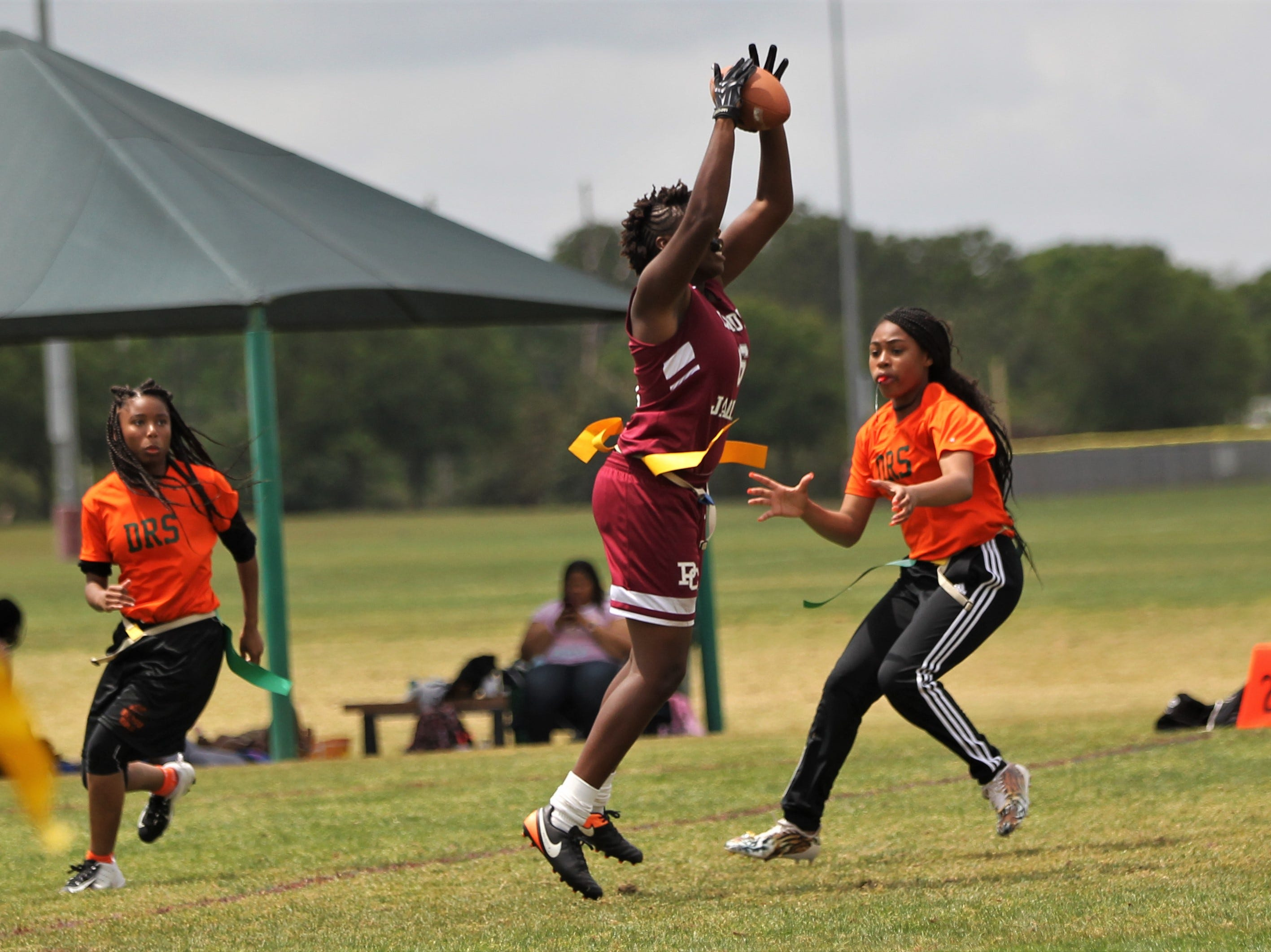 Pines Charter plays FAMU DRS in the 2019 Capital City Classic flag football tournament at the FSU Rec SportsPlex on April 6, 2019.