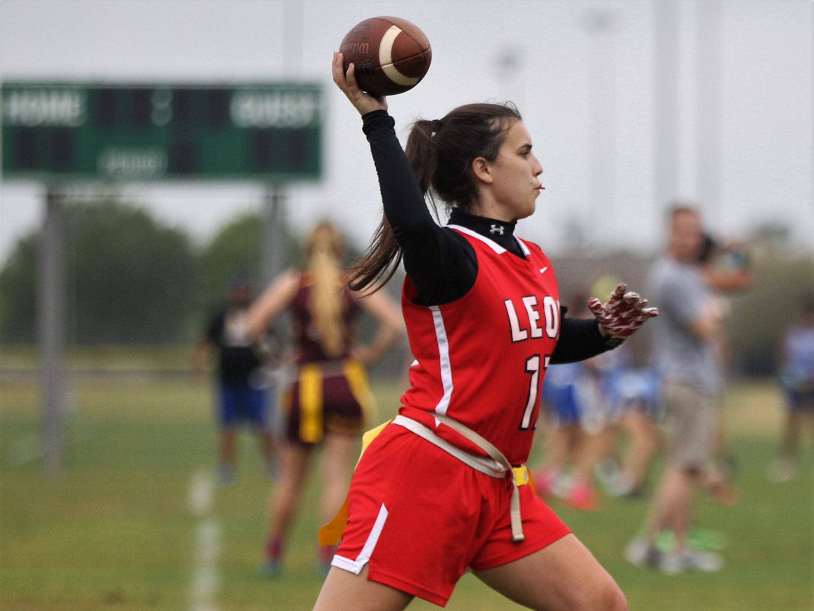 Leon quarterback Sophie Hightower plays in the 2019 Capital City Classic at the FSU Rec SportsPlex on April 6, 2019.
