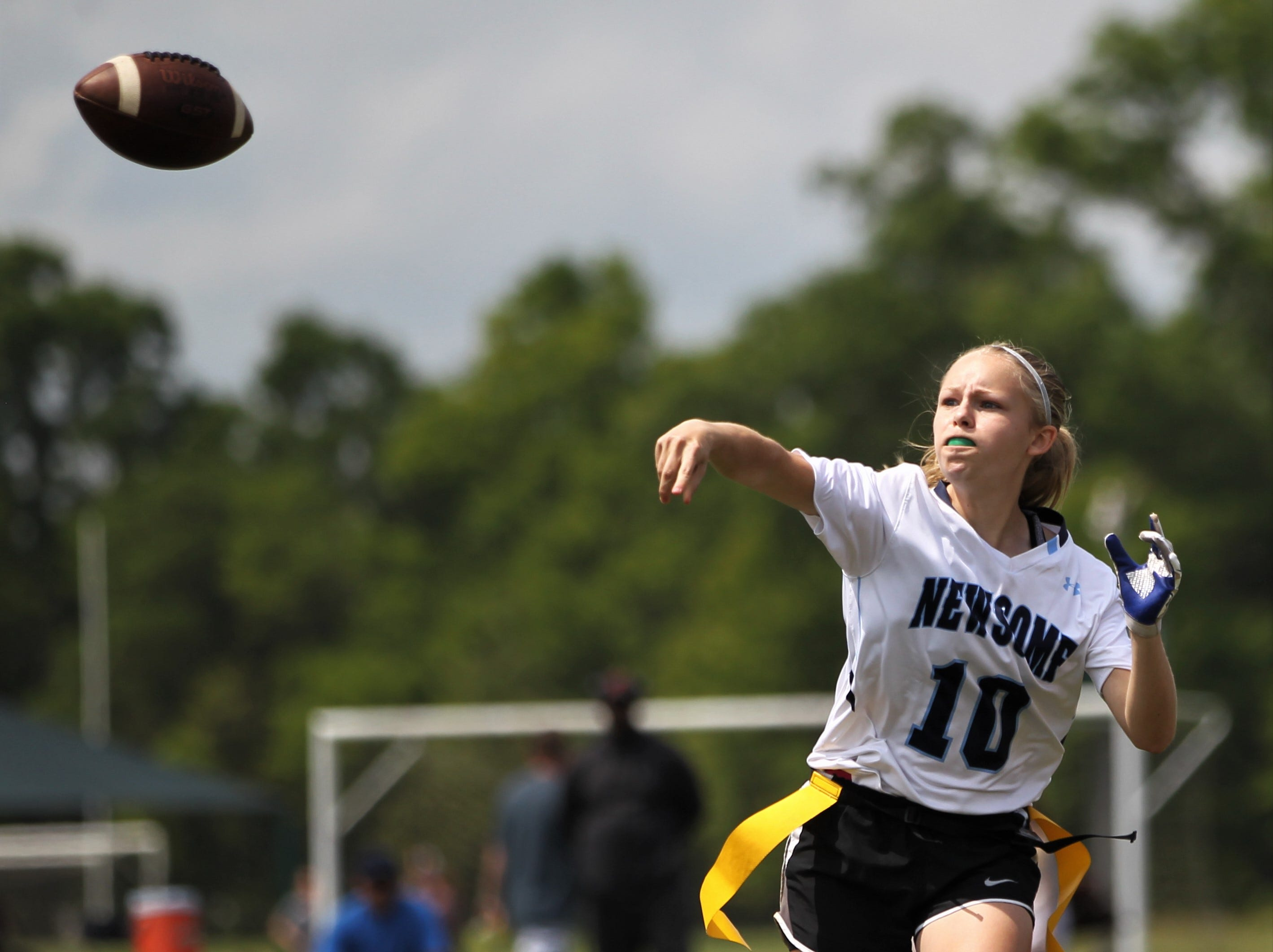 Newsome plays in the 2019 Capital City Classic flag football tournament at the FSU Rec SportsPlex on April 6, 2019.