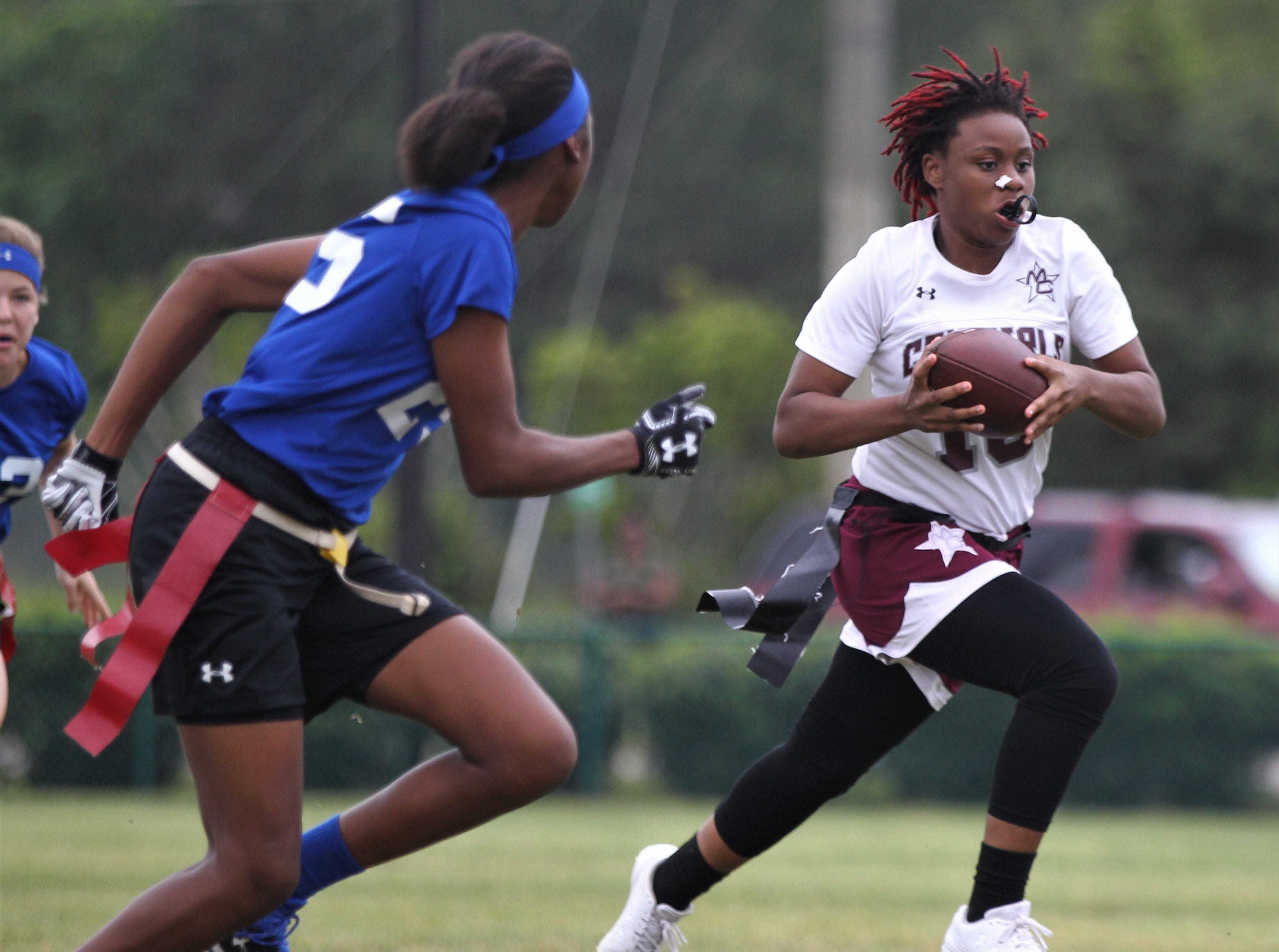 Madison County's Zharia Norwood runs for a gain against Belleview in the 2019 Capital City Classic at the FSU Rec SportsPlex on April 6, 2019.