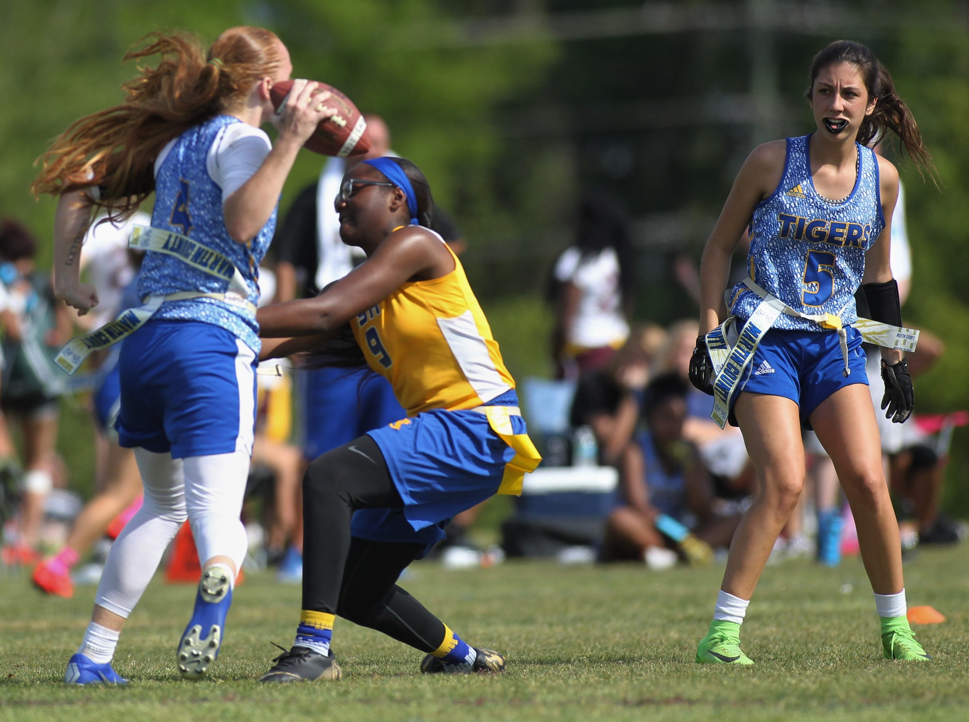 Rickards' MaKayla Brown records a sack against Martin County during the 2019 Capital City Classic flag football tournament at the FSU Rec SportsPlex on April 6, 2019.