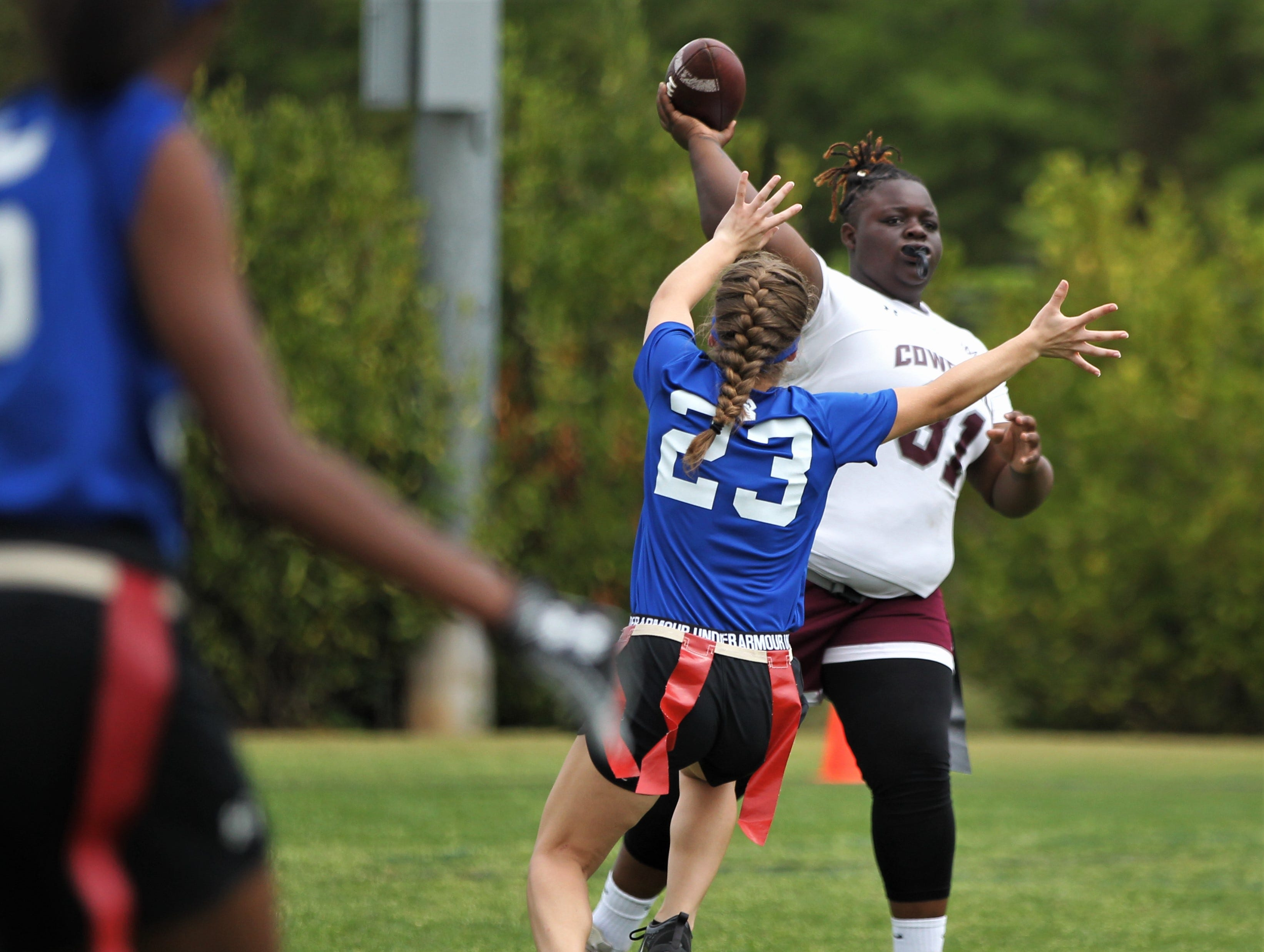 Madison County throws a pass against Belleview in the 2019 Capital City Classic at the FSU Rec SportsPlex on April 6, 2019.