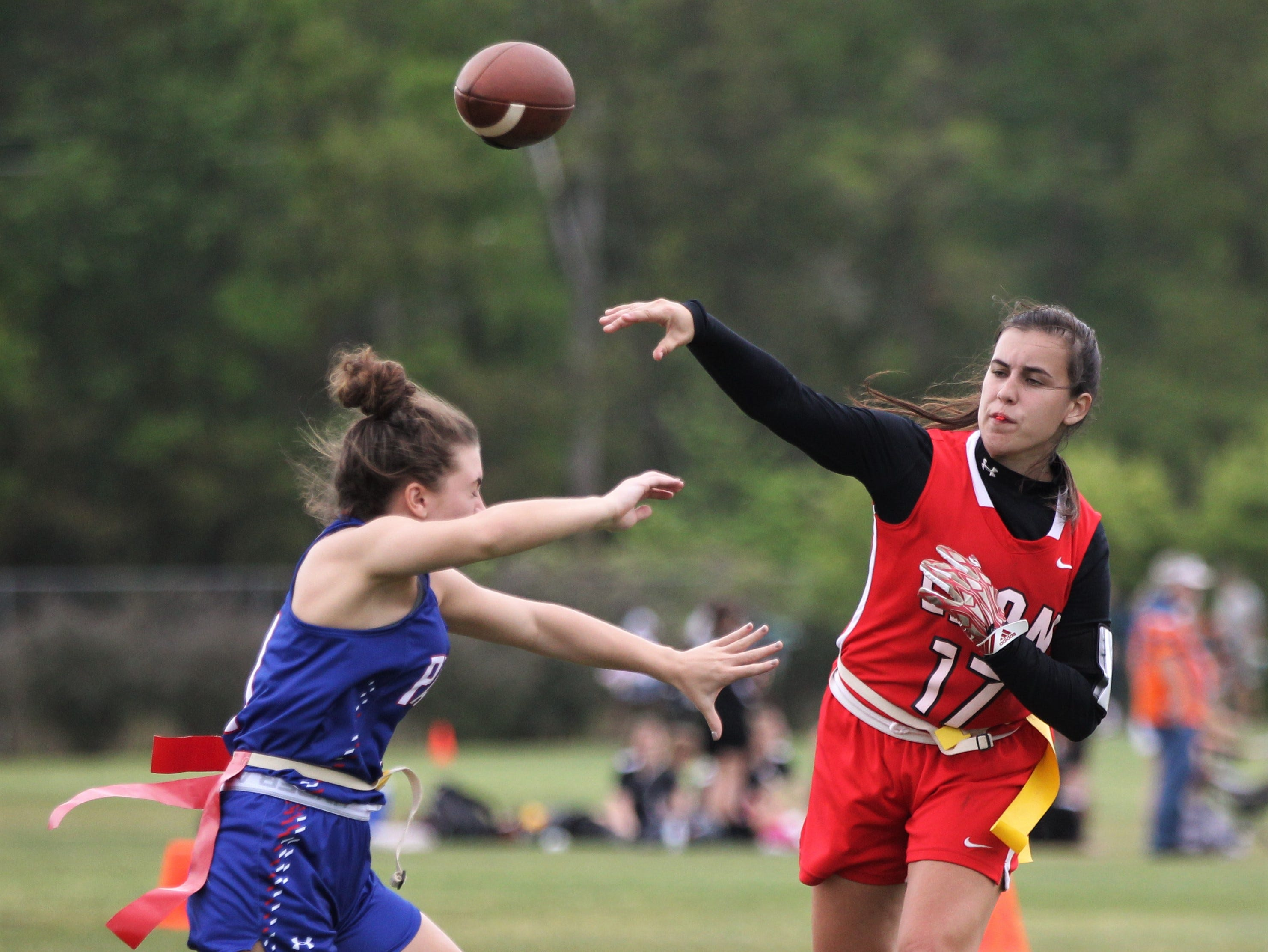 Leon quarterback Sophie Hightower throws a pass against Pace in the 2019 Capital City Classic at the FSU Rec SportsPlex on April 6, 2019.
