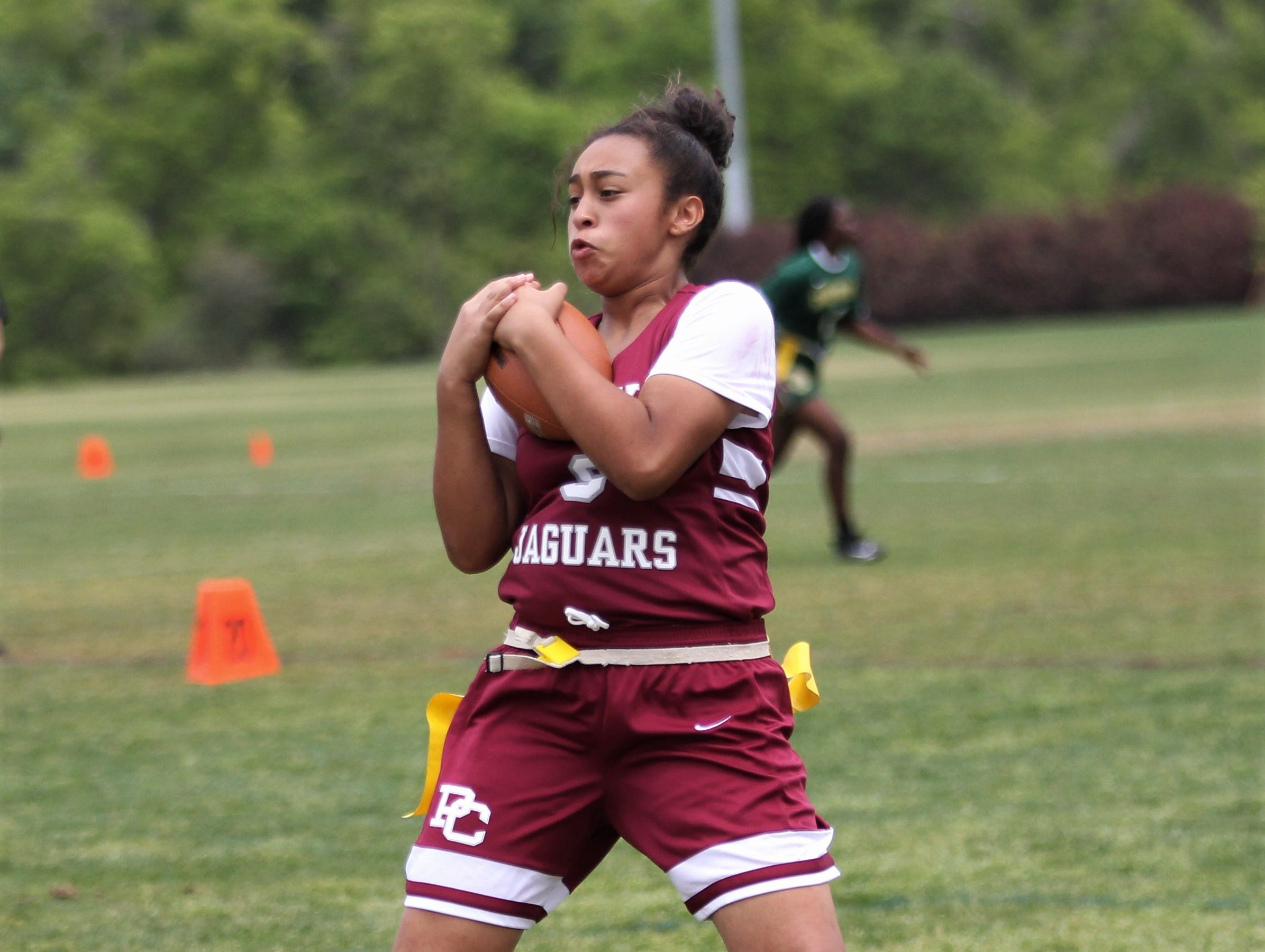 Pines Charter plays in the 2019 Capital City Classic flag football tournament at the FSU Rec SportsPlex on April 6, 2019.