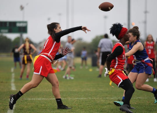 Leon quarterback Sophie Hightower plays Pace in the 2019 Capital City Classic at the FSU Rec SportsPlex on April 6, 2019.