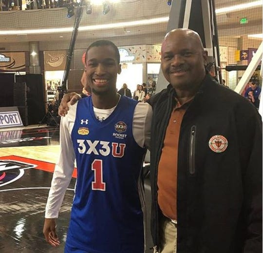 FAMU senior shooting guard Justin Ravenel and men's basketball head coach Robert McCullum hang out at the Mall of America in Bloomington, Minnesota during the 2019 men's Final Four.