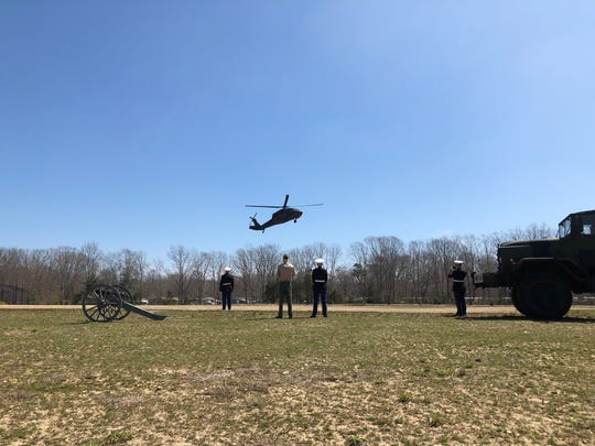A Black Hawk helicopter lands on the grounds of the Sgt. Dominick Pilla Middle School on Saturday.