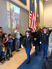 The color guard of the NJ National Guard  attended the ceremony.