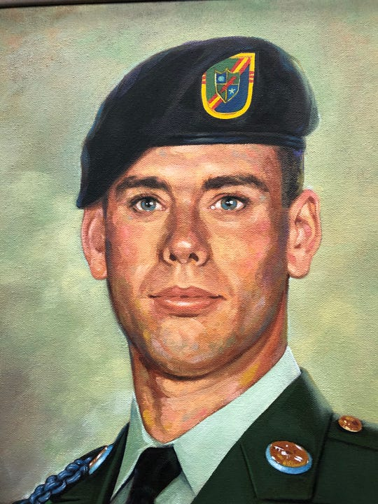 The Sgt. Dominick Pilla Middle School Dedication Committee commissioned a portrait of the U.S. Army Ranger. Vineland artist George Perez painted the portrait inspired by a family photo and a jacket given to him by the U.S. Rangers.