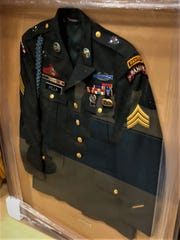 A replicated sergeant's jacket that was assembled by fellow Rangers of Sgt. Dominick Pilla.