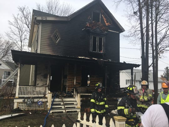 A two-and-a-half story home suffered major fire damage Sunday afternoon in Nyack. Photo by Steve Lieberman