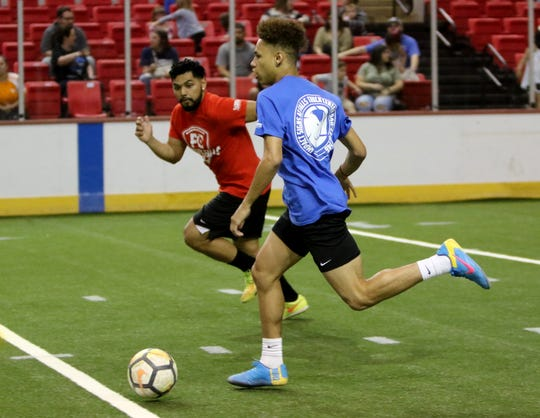 In this file photo, Wichita Falls FC players practice April 6 during a season preview at Kay Yeager Coliseum.