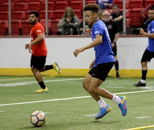 Josh Peloquin is seen in this April 6 file photo during the Wichita Falls FC's season preview Saturday at Kay Yeager Coliseum. Falls Town Flyers' nonprofit of the night for their first home game is Wichita Falls Faith Mission. Peloquin said his family stayed at the Mission briefly when he was a child and it helped them get back on their feet.