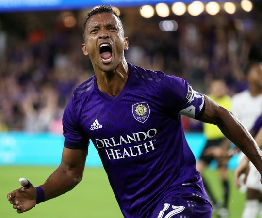 April 6: Orlando City SC forward Nani celebrates after scoring a goal against the Colorado Rapids during the first half at Orlando City Stadium. Nani scored two goals in Orlando's 4-3 win.