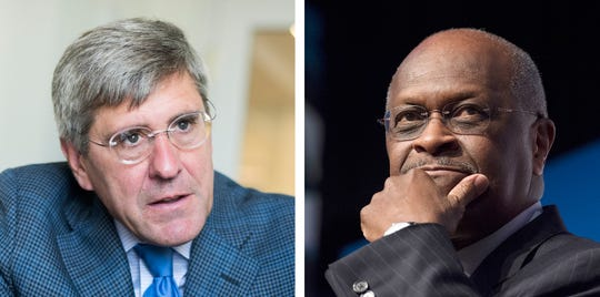 Stephen Moore, left, and Herman Cain.