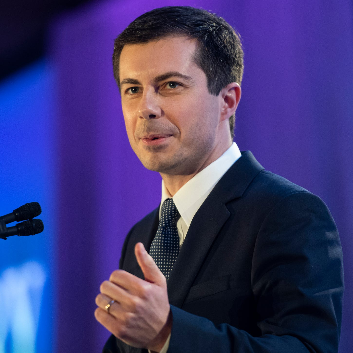 Democratic presidential candidate Pete Buttigieg speaks at the LGBTQ Victory Fund National Champagne Brunch on April 7, 2019 in Washington.