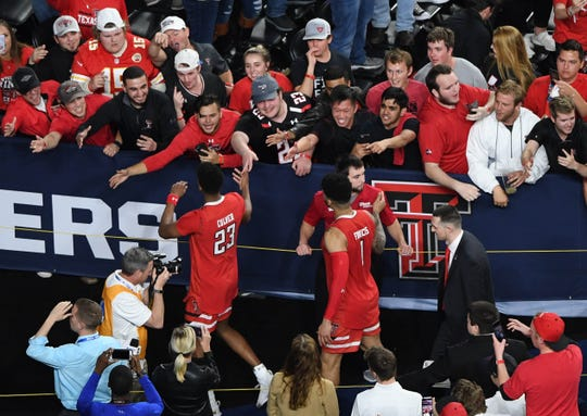 Texas Tech Red Raiders greet fans after winning a Final Four game in Minneapolis on April 6, 2019.