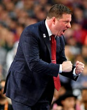 Chris Beard reacts during Texas Tech's win over Michigan State.